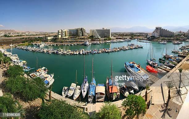 eilat marina - panoramic image - eilat stock pictures, royalty-free photos & images