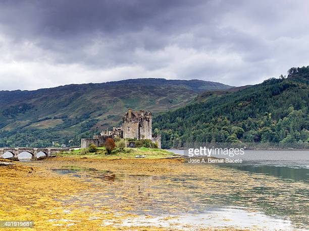 CONTENT] Eilean Donan a stormy day in autumn on one side of Loch Duich with many orange algae Scotland