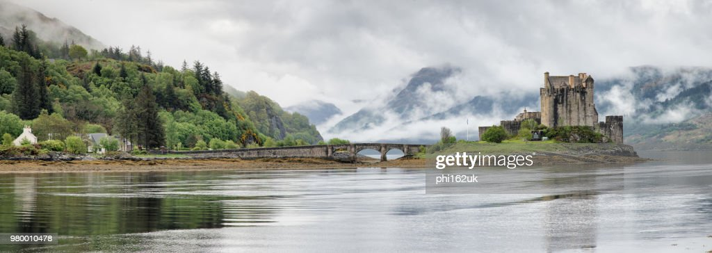 Eilean Donan Castle at Loch Long in panoramic view, Argyll and Bute, Scotland, UK : Stock Photo