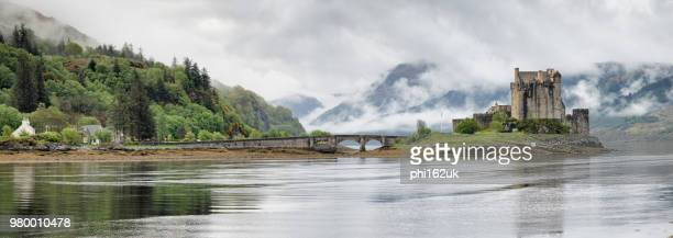 Eilean Donan Castle at Loch Long in panoramic view, Argyll and Bute, Scotland, UK