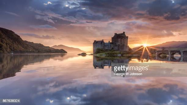 Eilean Donan Castle at Sunset in Scotland