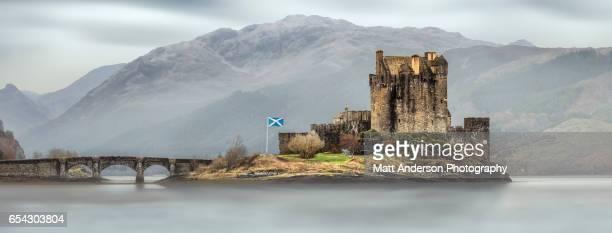 Eilean Donan Castle in dramatic light, Dornie Scotland, UK