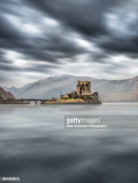 Eilean Donan Castle in dramatic light, Dornie Scotland, UK