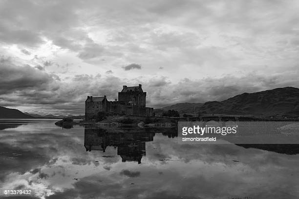 eilean donan castle in evening light - mirror lake stock pictures, royalty-free photos & images