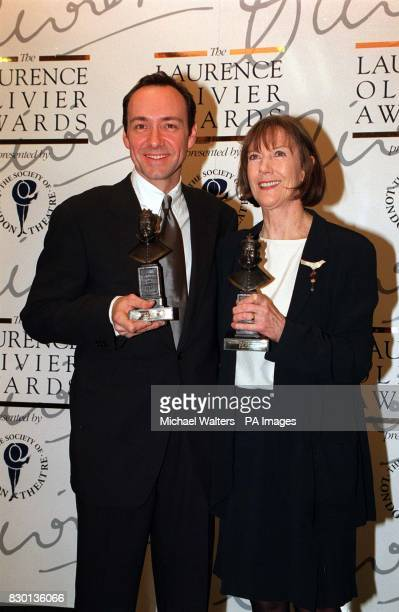Eileen Atkins with Kevin Spacey who were awarded Best Actress and Best Actor for their roles in The Unexpected Man and The Iceman Cometh respectively...