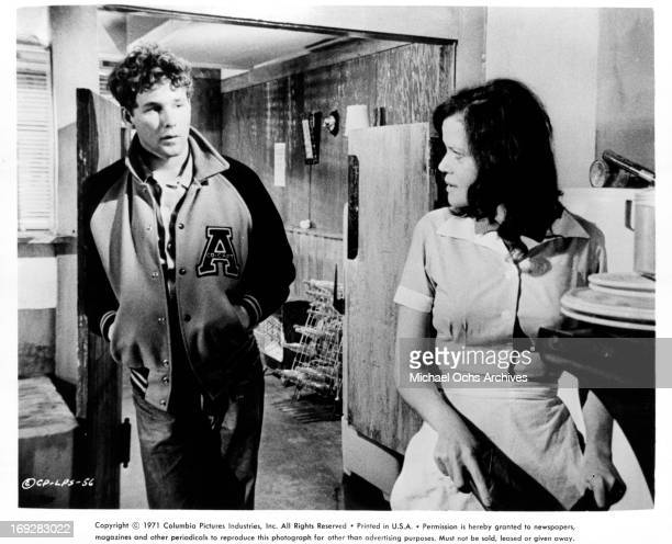 Eileen Brennan cooks for Timothy Bottoms in a scene from the film 'The Last Picture Show' 1971