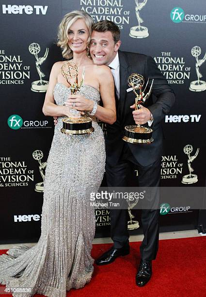 Eileen Davidson and Billy Miller attend the 41st Annual Daytime Emmy Awards - press room held at The Beverly Hilton Hotel on June 22, 2014 in Beverly...