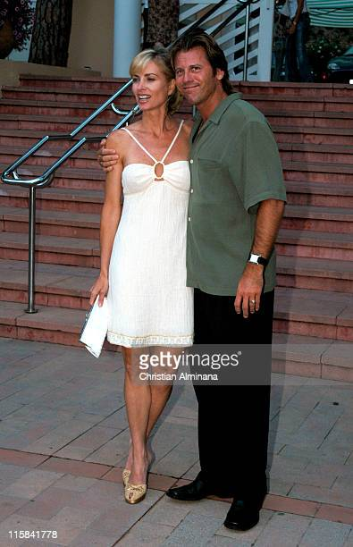 Eileen Davidson and husband Vincent Van Patten during 44th Monte Carlo Television Festival Beach Club Party Arrivals at Monte Carlo Beach Hotel in...