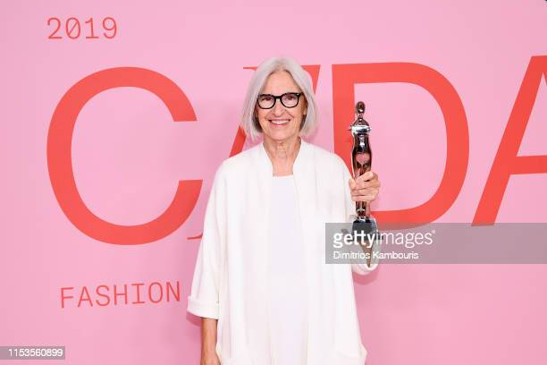 Eileen Fisher poses with the Positive Change Award on the Winners Walk during the CFDA Fashion Awards at the Brooklyn Museum of Art on June 03 2019...