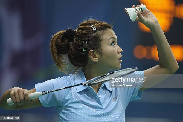 Eileen Foo Kune of Mauritius competes in the women's singles match against Liz Cann of England at Siri Fort Sports Complex during day three of the...