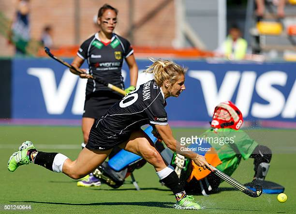 Eileen Hoffmann hits the ball to score the second goal of her team during the bronze medal match between China and Germany as part of Day 9 of the...