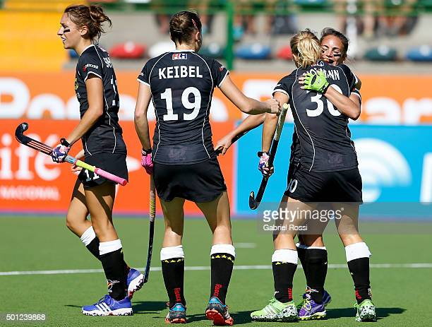 Eileen Hoffmann of Germany and teammates celebrate their team's second goal during the bronze medal match between China and Germany as part of Day 9...