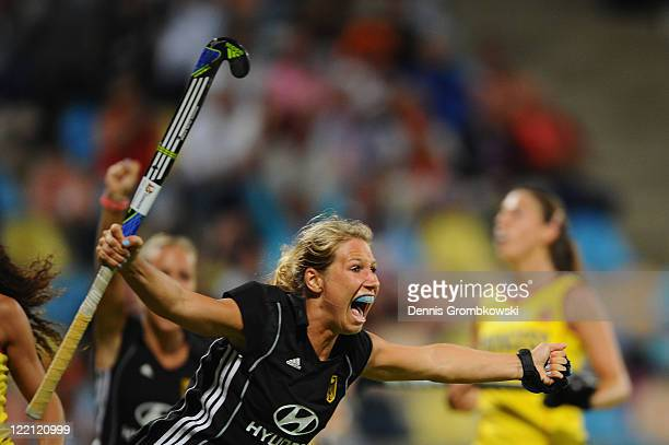 Eileen Hoffmann of Germany celebrates after scoring her team's opening goal during the Women's Eurohockey 2011 semi final match between Spain and...