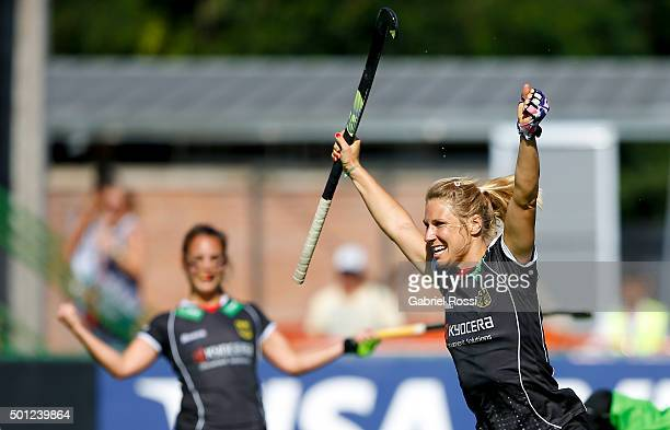 Eileen Hoffmann of Germany celebrates after scoring the second goal of her team during the bronze medal match between China and Germany as part of...