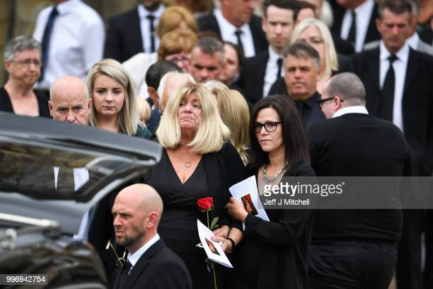Eileen Rankin the wife of Bay City Roller guitarist Alan Longmuir attends his funeral at Allan Church on July 12 2018 in Bannockburn Scotland The...