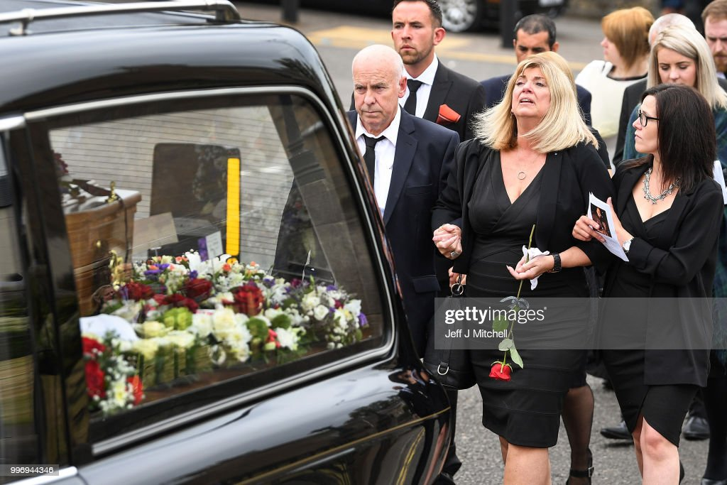 Eileen Rankin the wife of Bay City Roller guitarist Alan Longmuir attends his funeral at Allan Church on July 12, 2018 in Bannockburn, Scotland. The seventy year old Edinburgh born musician and a founding member of the Bay City Rollers, died at Forth Valley Hospital in Larbert.