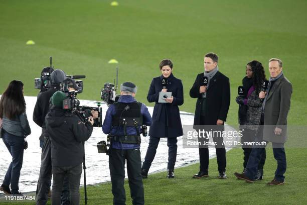Eilidh Barbour Michael Owen Eni Aluko and Lee Dixon during Amazon Prime first live broadcast game before Premier League match between Crystal Palace...