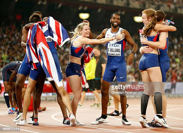 Eilidh Child of Great Britain and Seren BundyDavies of Great Britain congratulate Delanno Williams of Great Britain and Jarryd Dunn of Great Britain...