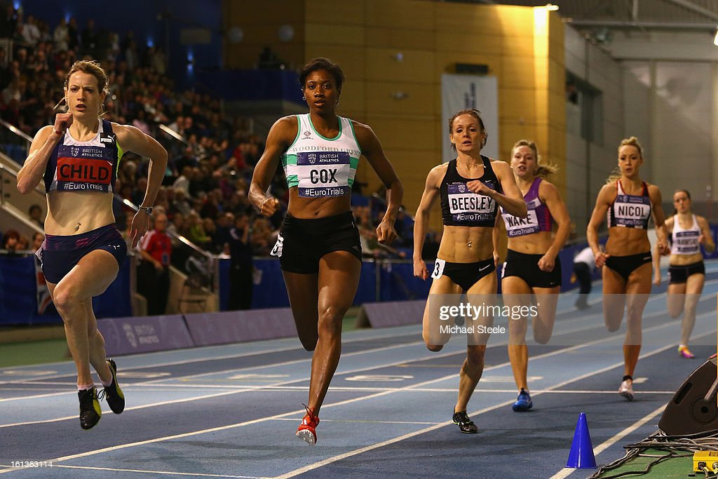 Eilidh Child (L) on her way to victory in the women's 400m final from Shana Cox (2L) during day two of the British Athletics European Trials & UK Championship at the English Institute of Sport on February 10, 2013 in Sheffield, England.