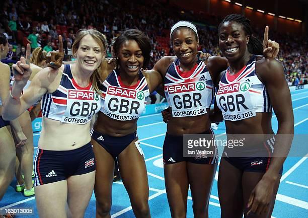 Eilidh Child Perri ShakesDrayton Shana Cox and Christine Ohuruog of Great Britain and Northern Ireland win gold in the Women's 4x400m Relay Final...