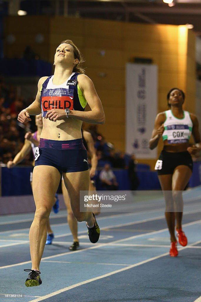 Eilidh Child wins the women's 400m final during day two of the British Athletics European Trials & UK Championship at the English Institute of Sport on February 10, 2013 in Sheffield, England.
