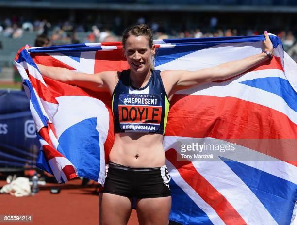Eilidh Doyle celebrates winning the Womens 400m Hurdles Final during the British Athletics World Championships Team Trials at Birmingham Alexander...