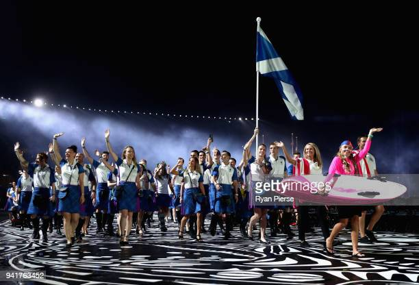 Eilidh Doyle flag bearer of Scotland arrives with Scotland team during the Opening Ceremony for the Gold Coast 2018 Commonwealth Games at Carrara...