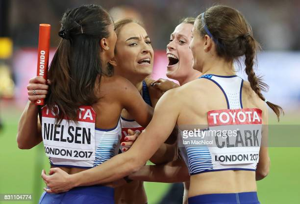 Eilidh Doyle Laviiai Nielsen Zoey Clark and Emily Diamond celebrates after Great Britain win silver in the Women's 4x400m Relay final during day ten...