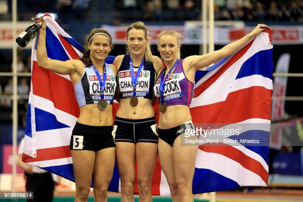 Eilidh Doyle of Great Britain celebrates winning the womens 400m final during day two of the SPAR British Athletics Indoor Championships at Arena...