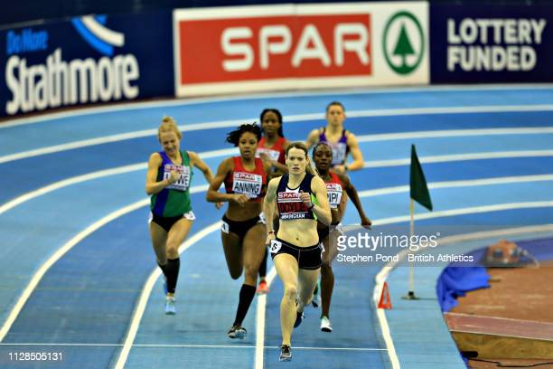 Eilidh Doyle of Great Britain competes in the first semifinal of the Womens 400m during Day One of the SPAR British Athletics Indoor Championships at...