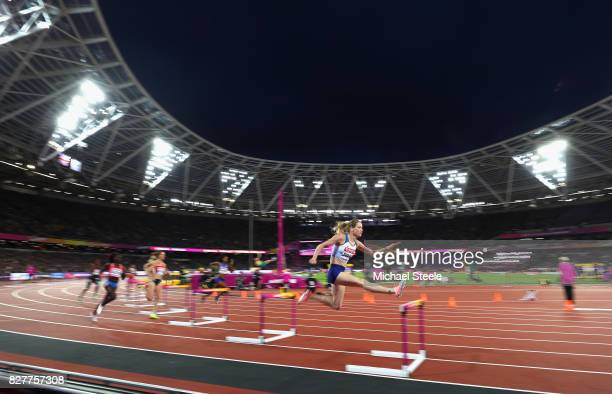 Eilidh Doyle of Great Britain competes in the Women's 400 metres hurdles semi finals during day five of the 16th IAAF World Athletics Championships...