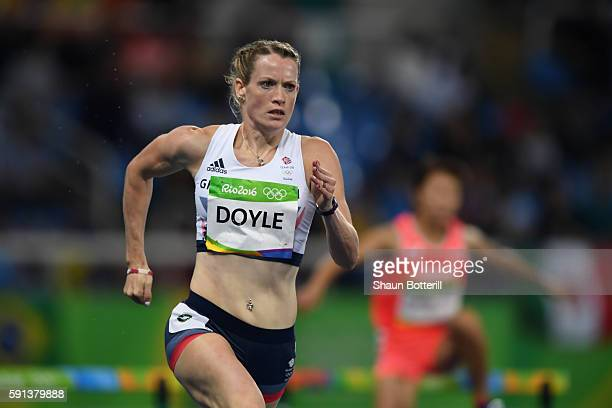 Eilidh Doyle of Great Britain competes in the Women's 400m Hurdles Round 1 on Day 10 of the Rio 2016 Olympic Games at the Olympic Stadium on August...