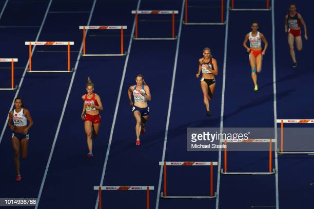 Eilidh Doyle of Great Britain competes in the Women's 400m Hurdles SemiFinal during day three of the 24th European Athletics Championships at...