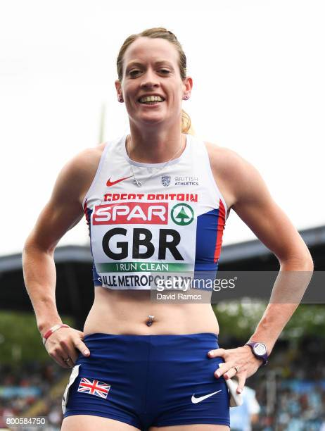Eilidh Doyle of Great Britain poses after winning in the Women's 400m Hurdles Final during day two of the European Athletics Team Championships at...