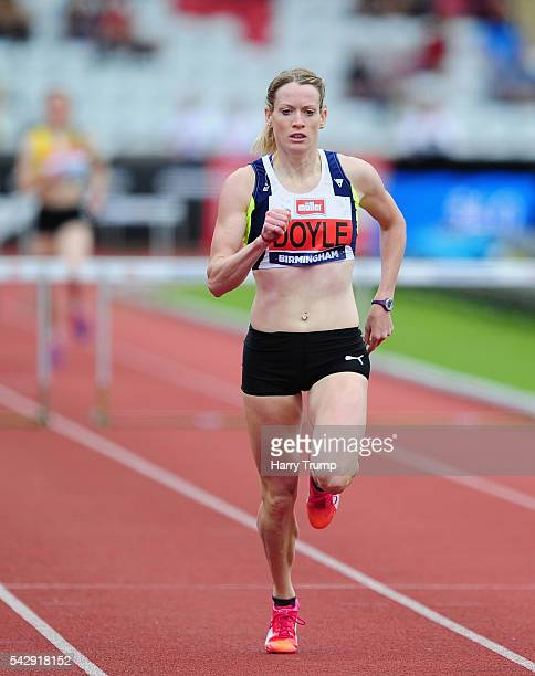Eilidh Doyle of Pitreavie wins Heat 2 of the Women's 400 Metres Hurdles during Day Two of the British Championships at Birmingham Alexander Stadium...