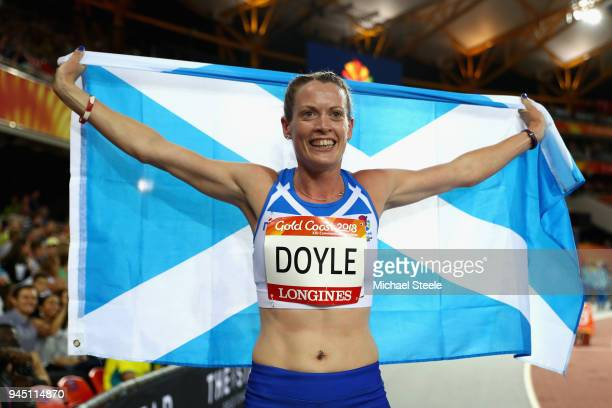 Eilidh Doyle of Scotland celebrates winning silver in the Women's 400 metres hurdles final during athletics on day eight of the Gold Coast 2018...