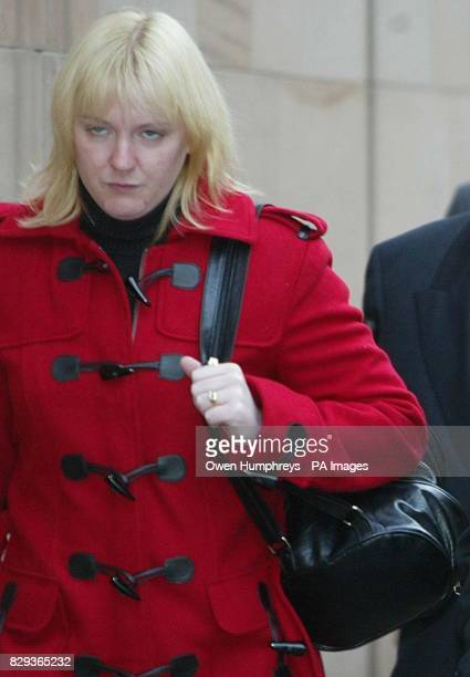 Eilisa Broadhurst wife of Ian Broadhurts arrives at Newcastle Crown Court where David Bieber is on trial accused of murdering traffic policeman Ian...