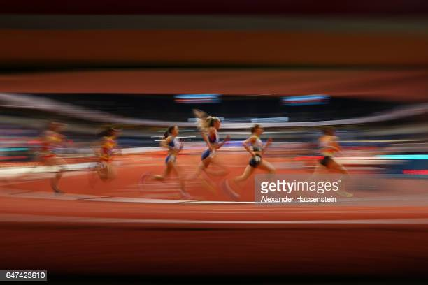 Eilish McColgan of Great Britain competes in the Women's 3000 metres heats on day one of the 2017 European Athletics Indoor Championships at the...