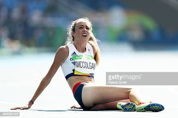 Eilish Mccolgan of Great Britain reacts after the Women's 5000m Round 1 Heat 2 on Day 11 of the Rio 2016 Olympic Games at the Olympic Stadium on...