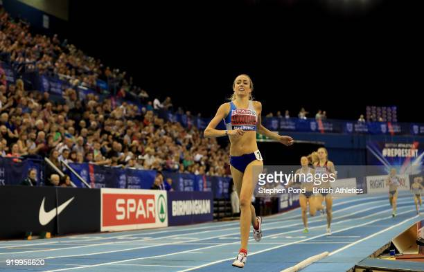 Eilish McColgan of Great Britain wins the womens 1500m final during day two of the SPAR British Athletics Indoor Championships at Arena Birmingham on...