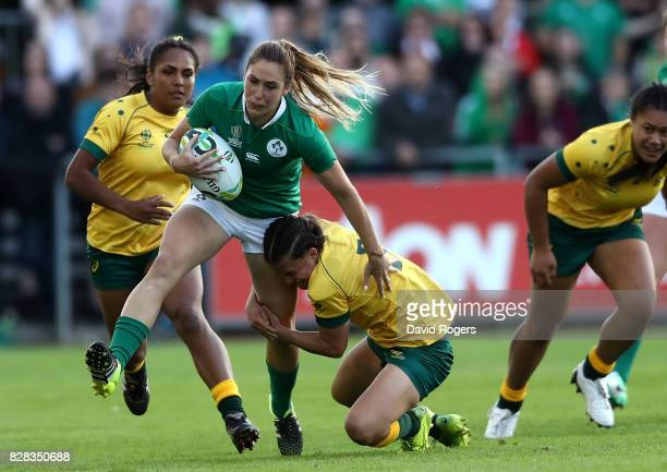 Eimear Considine of Ireland is tackled by Katrina Barker of Australia during the Women's Rugby World Cup 2017 match between Ireland and Australia on...