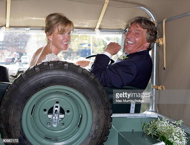 Eimear Montgomerie and new husband Nick Cook leave St Nicholas Church in a canvas roofed Land Rover after their wedding on September 20 2009 in...