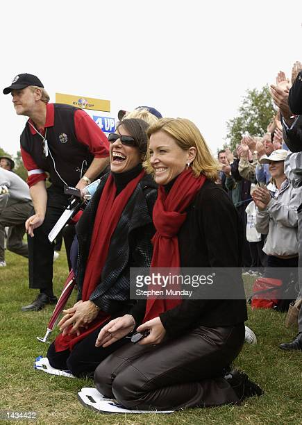 Eimear Montgomerie and Suzanne Torrance celebrate during the morning fourball matches on the first day of the 34th Ryder Cup at the De Vere Belfry in...