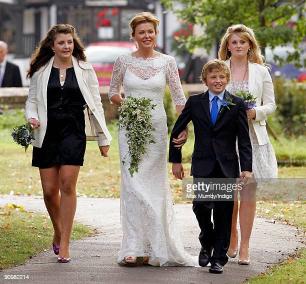 Eimear Montgomerie arrives at St Nicholas Church for her wedding to Nick Cook on September 20 2009 in Cranleigh England