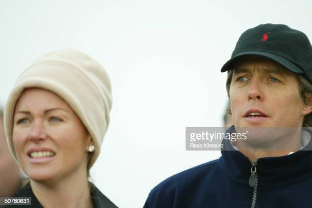 PHOTO Eimear Montgomerie wife of Colin chats to actor Hugh Grant during the first round of the Dunhill Links Championship on September 25 2003 at...