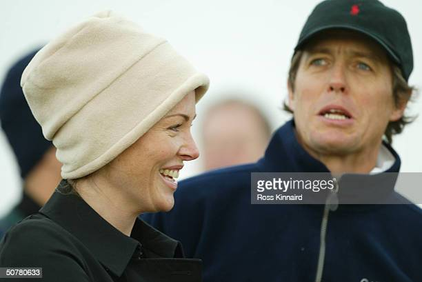 Eimear Montgomerie wife of Colin chats to actor Hugh Grant during the first round of the Dunhill Links Championship on September 25 2003 at...