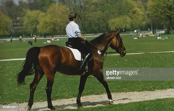 Ein Ausritt im gemächlichen Schritt durch den Englischen Garten Die Reiterin führt ihr Pferd durch die sommerliche Parkanlage der bayerischen...