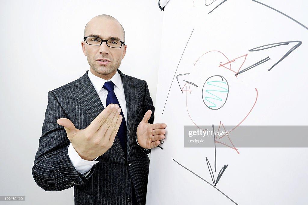 Ein Mann im Anzug erkl‰rt vor einem Flipchart : Stock Photo