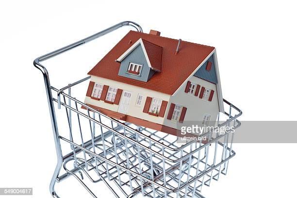 Ein Modell eines Hauses in einem Einkaufswagen Symbolfoto für Hauskauf