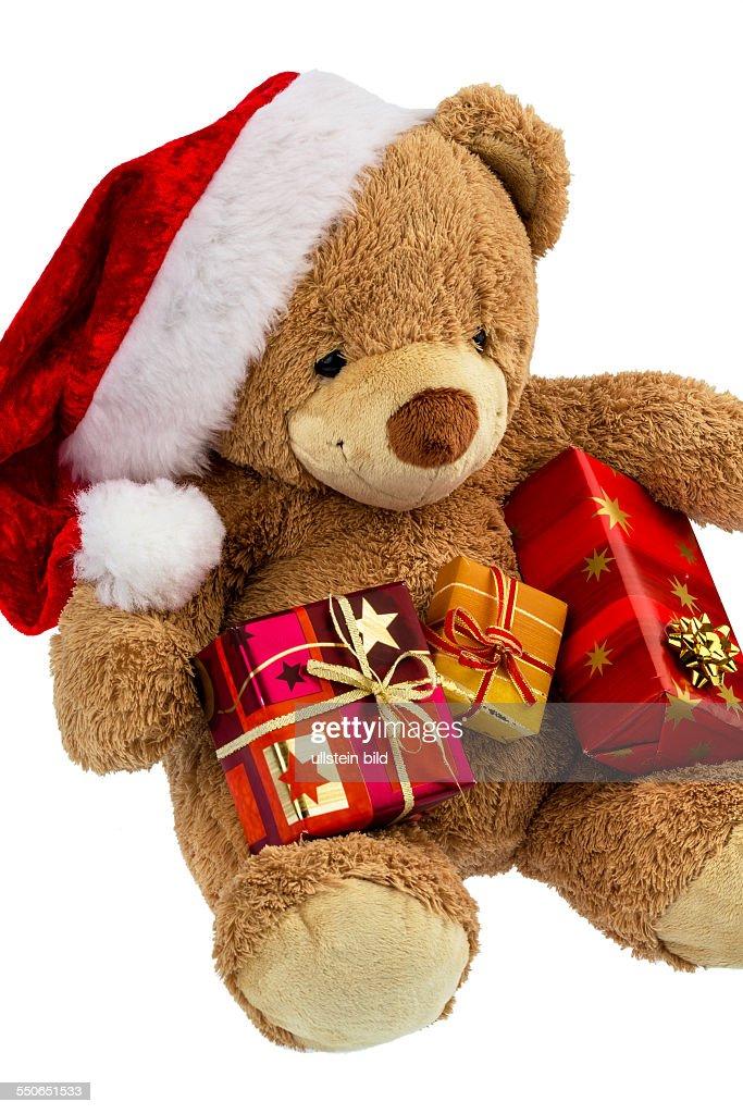 Teddy Weihnachten.Ein Teddybär Mit Geschenken Zu Weihnachten Als Weihnachtsmann
